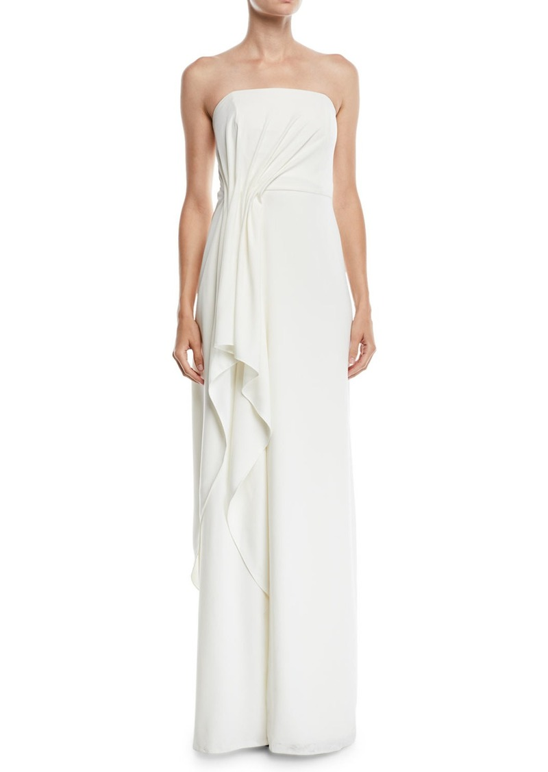 Halston Heritage Strapless Crepe Gown w/ Draped Front