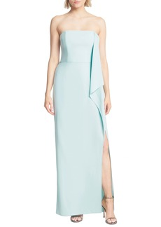 Halston Heritage Strapless Draped Crepe Gown