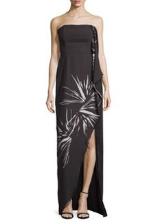 Halston Heritage Strapless Draped Floral Gown