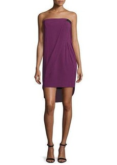 Halston Heritage Strapless Draped Mini Dress