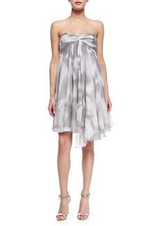 Halston Heritage Strapless Draped Print Cocktail Dress