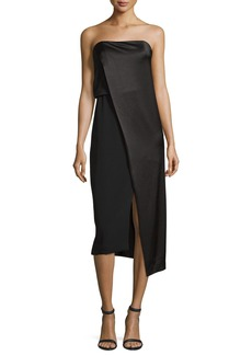Halston Heritage Strapless Draped Satin Cocktail Dress