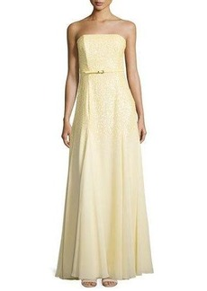 Halston Heritage Strapless Embellished Belted Gown