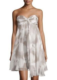 Halston Heritage Strapless Flap-Front Chiffon Dress
