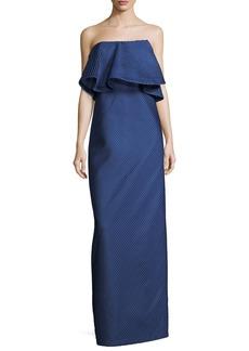 Halston Heritage Strapless Flounce Mesh Stripe Evening Gown