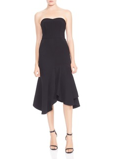 HALSTON HERITAGE Strapless Flounced Crepe Midi Dress