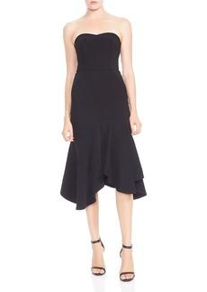 HALSTON HERITAGE Strapless Flounced Crepe Midi Dress