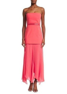 Halston Heritage Strapless Flowy-Skirt Dress