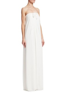 Halston Heritage Strapless Front-Tie Shift Gown