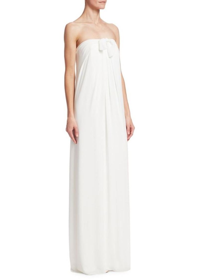 Halston Heritage Tie Front Strapless Gown