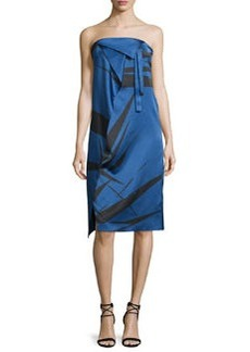 Halston Heritage Strapless Graphic Charmeuse Dress w/ Fold Details