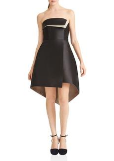 HALSTON HERITAGE Strapless High/Low Dress