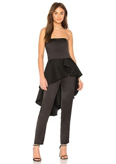 Halston Heritage Strapless Jumpsuit With Flounce Skirt