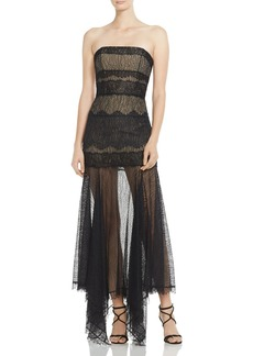 HALSTON HERITAGE Strapless Lace Gown