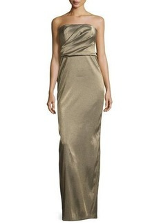 Halston Heritage Strapless Metallic Evening Gown w/ Back Structured Flounce