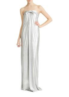 Halston Heritage Strapless Metallic Jersey Gown