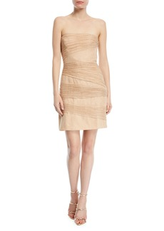 Halston Heritage Strapless Metallic Layered Mini Dress