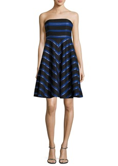 Halston Heritage Strapless Metallic-Stripe Fit-and-Flare Cocktail Dress