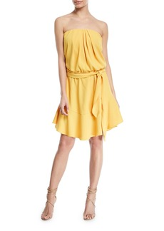 Halston Heritage Strapless Mini Dress w/ Flounce Skirt