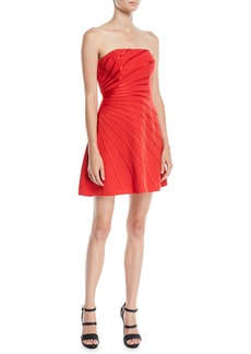 Halston Heritage Strapless Mini Dress w/ Satin Strip Appliqué