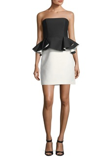 Halston Heritage Strapless Mini Peplum Colorblock Cocktail Dress