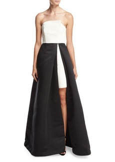 Halston Heritage Strapless Overlap Two-Tone Ball Gown