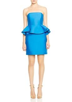 HALSTON HERITAGE Strapless Peplum Dress