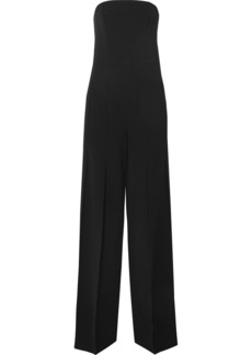 Halston Heritage Strapless pleated crepe jumpsuit
