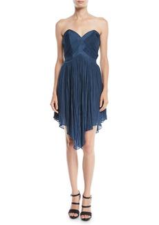 Halston Heritage Strapless Pleated Mini Dress w/ Asymmetric Hem
