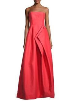 Halston Heritage Strapless Pleated Sateen Gown
