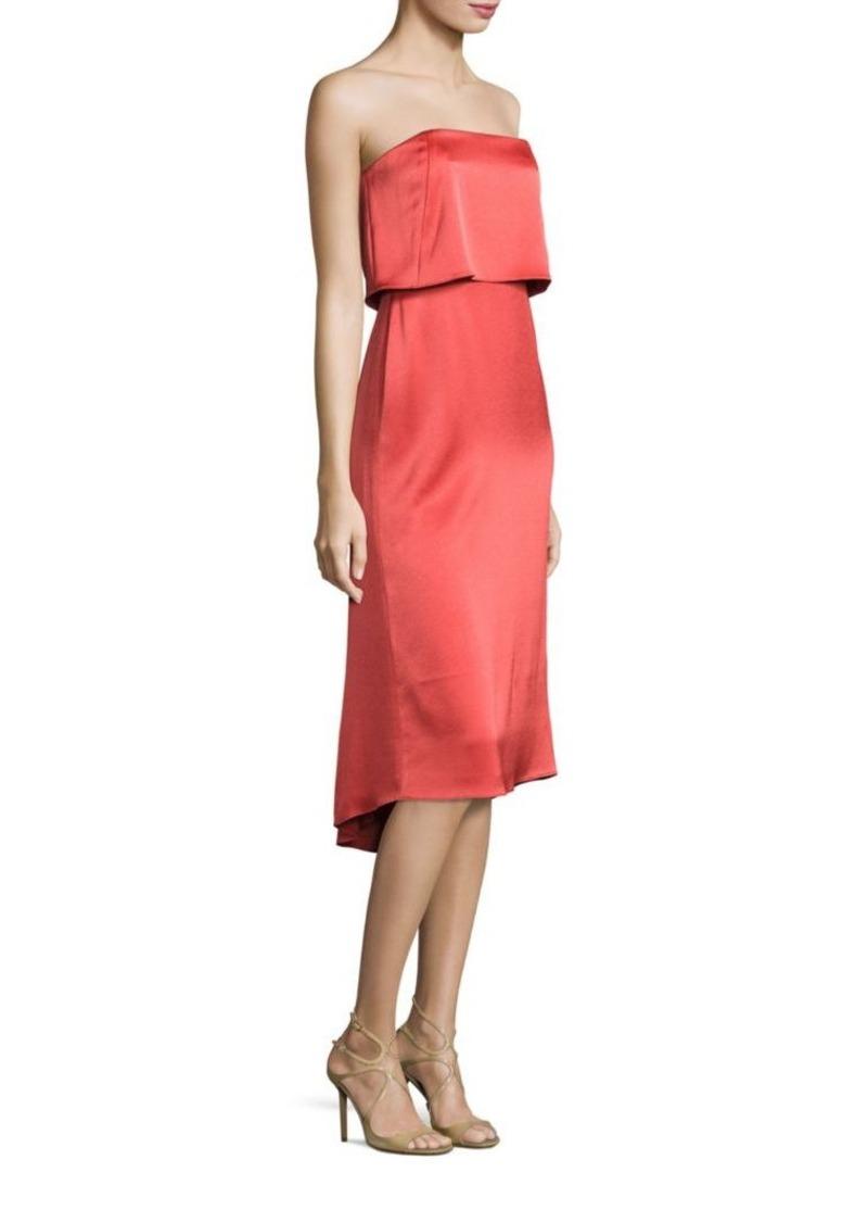 956b26c7732 Halston Heritage Strapless Popover Satin Dress