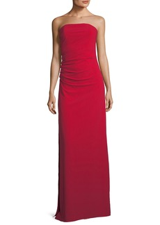 Halston Heritage Strapless Ruched Bodice Crepe Column Evening Gown