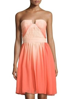 Halston Heritage Strapless Ruched-Top Chiffon Dress