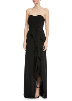 Halston Heritage Strapless Ruffle-Front Gown