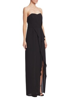 Halston Heritage Strapless Ruffle Gown