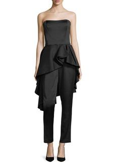 Halston Heritage Strapless Satin Straight-Leg Jumpsuit w/ Flounce Skirt