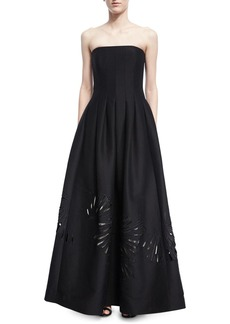 Halston Heritage Strapless Seamed Structured Ball Gown