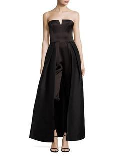 Halston Heritage Strapless Skirt Overlay Jumpsuit