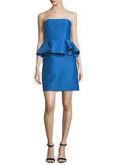 Halston Heritage Strapless Straight Cocktail Dress w/ Peplum Waist