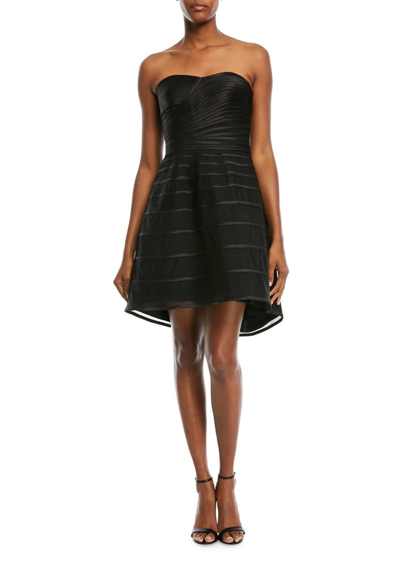 Halston Heritage Strapless Striped Cocktail Dress