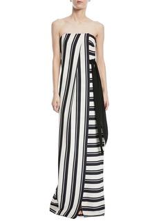 Halston Heritage Strapless Striped Gown w/ Tie Waist