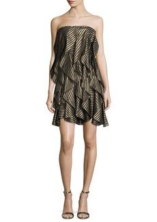 Halston Heritage Strapless Striped Metallic Flounce Cocktail Dress