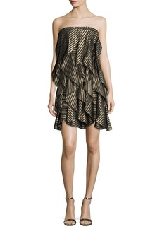 Halston Heritage Strapless Striped Metallic Flounce Cocktail Dress