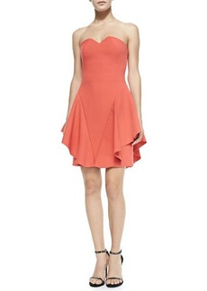 Halston Heritage Strapless Structured Dress W/ Side Ruffles