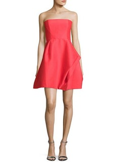 Halston Heritage Strapless Structured Faille Cocktail Dress