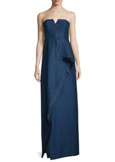 Halston Heritage Strapless Structured Faille Draped Column Gown