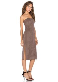 Halston Heritage Strapless Suede Dress
