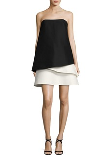 Halston Heritage Strapless Tiered Colorblock Cocktail Dress