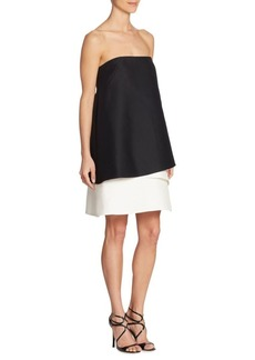 Halston Heritage Strapless Tiered Colorblock Dress