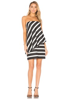 Strapless Tiered Drape Stripe Dress